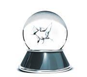 在白色背景和残破的玻璃-设计师的模板的水晶球 免版税库存照片