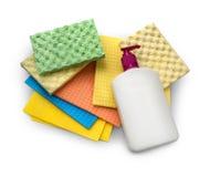 在白色背景和清洁剂隔绝的海绵 免版税库存图片