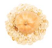 在白色背景和烤向日葵种子隔绝的南瓜 免版税库存照片