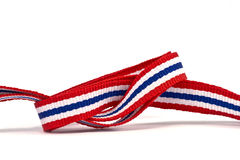 在白色背景和空白的区域的泰国旗子丝带样式 库存照片
