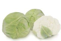 在白色背景和花椰菜隔绝的两个圆白菜头 免版税库存照片
