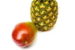 在白色背景和菠萝隔绝的芒果 免版税库存图片