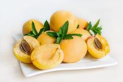 在白色背景和薄荷叶隔绝的杏子 免版税库存图片