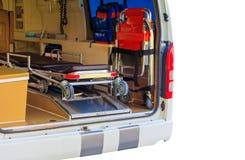 在白色背景和裁减路线隔绝的救护车紧急状态设备内部 免版税库存照片