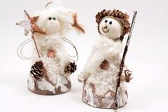 在白色背景圣诞节的雪人隔绝的 免版税图库摄影
