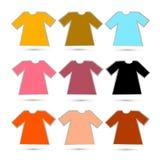 在白色背景在减速火箭的颜色的T恤杉集合隔绝的 免版税图库摄影