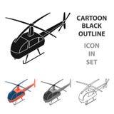 在白色背景在动画片样式的直升机象隔绝的 运输标志股票传染媒介例证 免版税库存图片