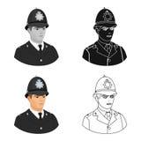 在白色背景在动画片样式的英国警察象隔绝的 英国国家标志股票传染媒介例证 免版税库存图片