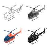 在白色背景在动画片样式的直升机象隔绝的 运输标志股票传染媒介例证 库存图片