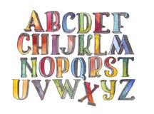 在白色背景在序列上写字从A到Z隔绝的套手拉的水彩 大粒状光栅例证 3D阿尔法 免版税图库摄影
