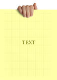 在白色背景在手中隔绝的黄色纸 库存照片