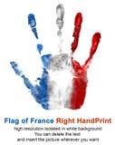 在白色背景在法国旗子颜色的右手印刷品隔绝的 法国和国庆节的标志 图库摄影