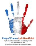 在白色背景在法国旗子颜色的左手版本记录隔绝的 库存照片