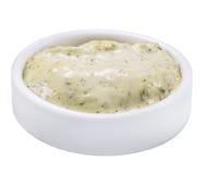 在白色背景在调味汁瓶的被隔绝的辣乳酪调味料 免版税图库摄影