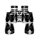 在白色背景在黑色的隔绝的双筒望远镜手拉的剪影  详细的葡萄酒蚀刻样式图画 向量例证