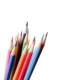 在白色背景孤立的铅笔颜色与裁减路线 图库摄影