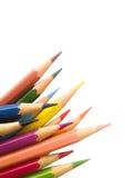 在白色背景孤立的铅笔颜色与裁减路线 库存照片