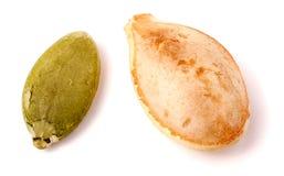 在白色背景宏指令的两粒南瓜籽 免版税库存图片