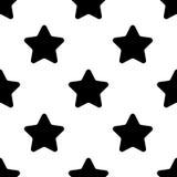 在白色背景平的设计传染媒介的星黑无缝的样式 库存照片