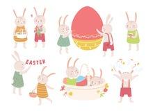 在白色背景或兔宝宝的隔绝的汇集逗人喜爱的复活节兔子 庆祝春天的套滑稽的动物 库存照片