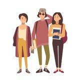 在白色背景或学生隔绝的小组学生 一起站立学校或大学的朋友 十几岁的男孩和 皇族释放例证