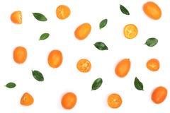 在白色背景或金桔与一半隔绝的Cumquat 顶视图 平的位置样式 库存照片