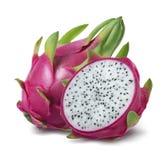 在白色背景或pitahaya隔绝的龙果子 库存照片