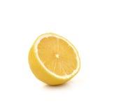 在白色背景新鲜的柠檬隔绝的切片 免版税库存照片