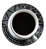 在白色背景无奶咖啡隔绝的杯 库存图片
