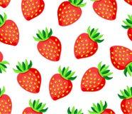 在白色背景无缝的传染媒介样式的甜野草莓 免版税库存图片