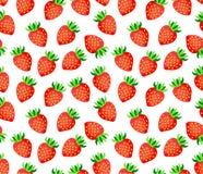 在白色背景无缝的传染媒介样式的草莓 免版税图库摄影