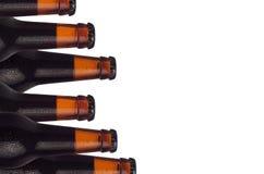 在白色背景有搬运工啤酒和水下落的隔绝的被密封的冷的黑啤酒瓶装饰边界  免版税库存照片