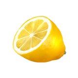 在白色背景柠檬隔绝的一半 免版税库存照片