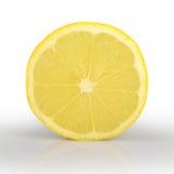 在白色背景柠檬隔绝的切片 库存图片