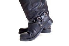 在白色背景特写镜头的两只皮靴 免版税库存图片