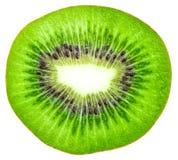 在白色背景猕猴桃隔绝的切片,顶视图 免版税库存图片