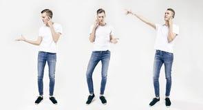 在白色背景用不同的姿势隔绝的英俊的年轻商人全长画象,使用手机,佩带的j 免版税库存图片