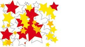 在白色背景画的白色,红色&黄色颜色星 库存照片