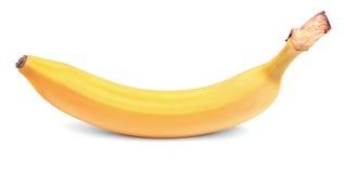 在白色背景的一个削皮的香蕉 充分五颜六色和水多的香蕉维生素 食家的异乎寻常的果子 库存照片
