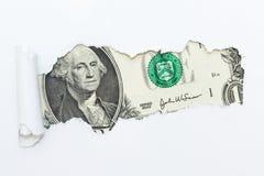 在白色背景的一个孔 暗藏的金钱,逃税 腐败和欺骗 库存照片
