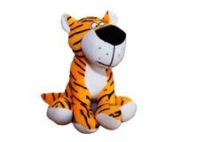 在白色背景的一个美丽的软的老虎软的玩具 免版税图库摄影