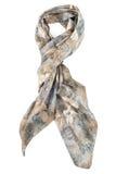 在白色背景的一个结是灰色串起的颈巾 图库摄影