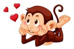 在白色背景的一只可爱的猴子 向量例证