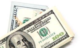 在白色背景的一百元钞票 库存图片