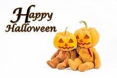 在白色背景的万圣夜南瓜与消息& x27; 愉快的Halloween& x27; 免版税库存照片