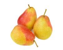 在白色背景的三个黄色红色梨 免版税库存图片