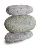 在白色背景的三块石头 库存照片