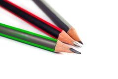 在白色背景的三支铅笔 图库摄影