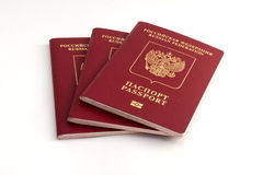 三本俄国护照 库存照片