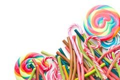 在白色背景的不同的糖果 免版税图库摄影
